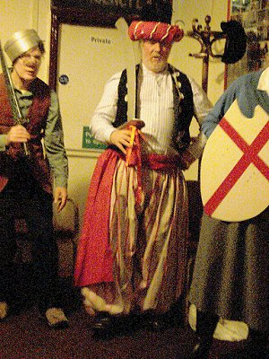 Mendip Mummers' Play - Harry as Terrible Turk, with John Shaw and members of Hotwell Howlers, in 2010.